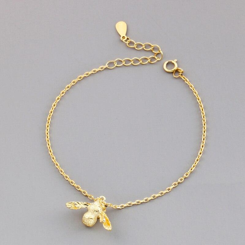 Nueva joyería de moda hermosa Plata de Ley 925 pulseras abejas oro personalidad Simple brazaletes con forma de dulces