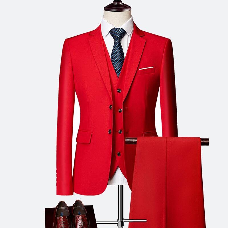 2019 trajes ajustados de moda de colores para hombre, trajes de dos botones para hombre, trajes sólidos de 3 piezas para hombre joven conjuntos de traje Terno masculino
