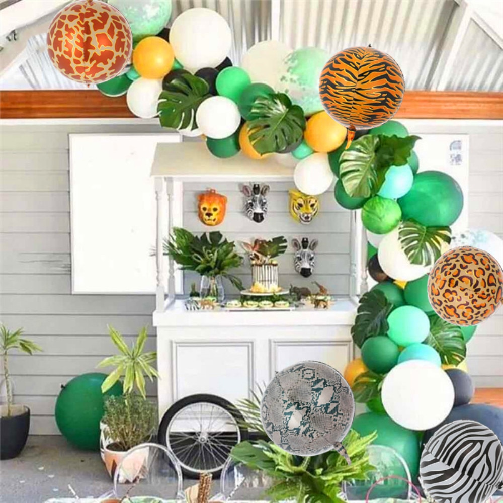 22 pulgadas 4D animales rayas Globo Verde confeti globo bosque hoja de palma globos de papel de aluminio jungla suministros de decoración para fiesta
