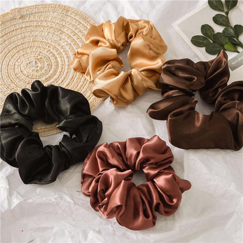 1pc satin sutera warna solid scrunchies tali rambut elastik, aksesori - Aksesori pakaian - Foto 4