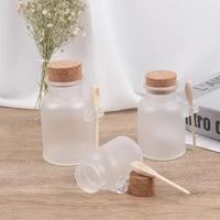 round cosmetic empty matte cork jar bath salt bottle container refillable with wood spoon storage bottles