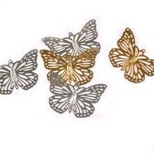 Conectores de mariposa artesanales de Metal dorado/plateado de 10 Uds., envolturas de flores de filigrana, hallazgos DIY para adorno de joyería, decoración ykl0768