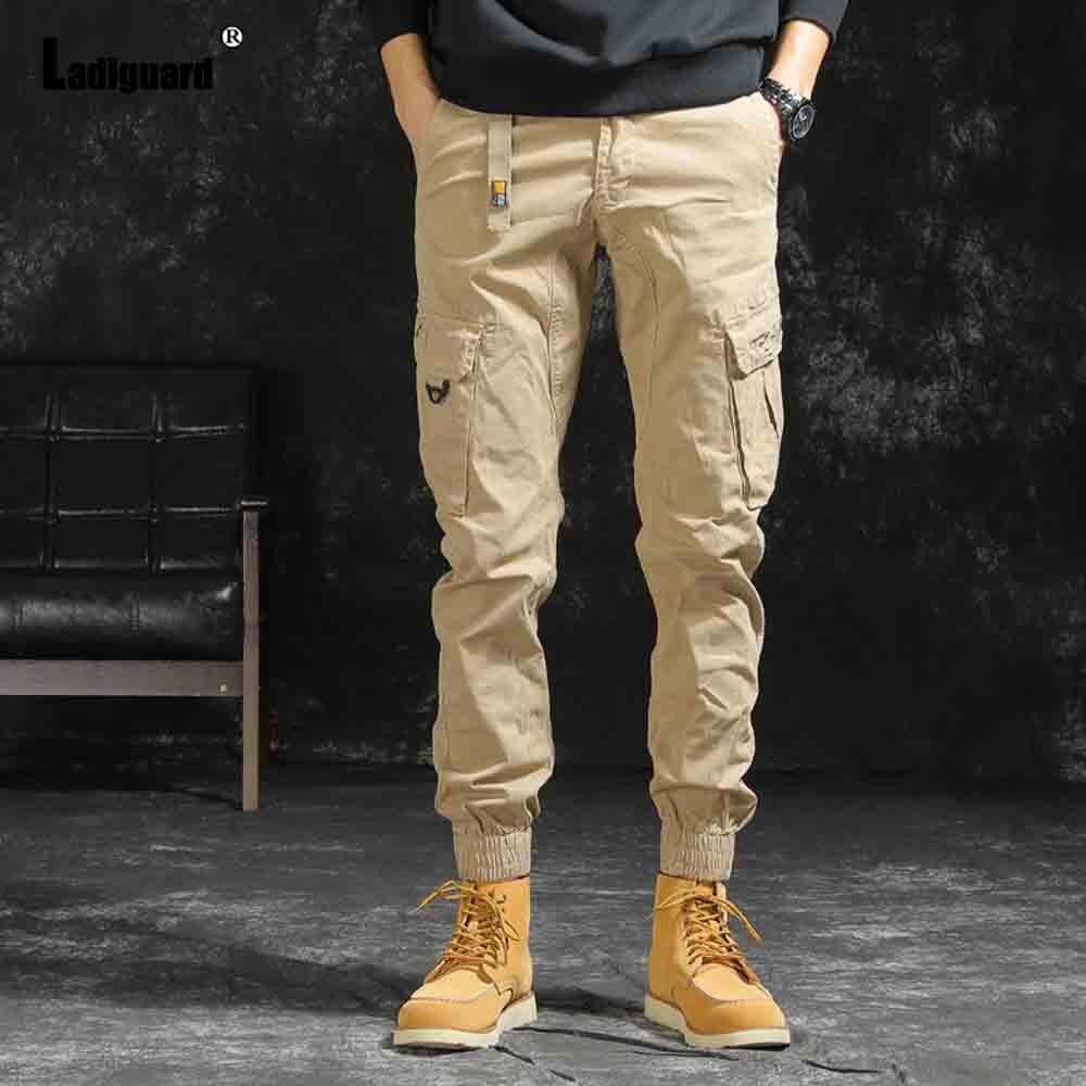 Ladguard – pantalon Cargo kaki pour homme, grande taille, Style européen, pantalon de survêtement Hip Hop pour l'extérieur, décontracté, slim, Streetwear, 2021
