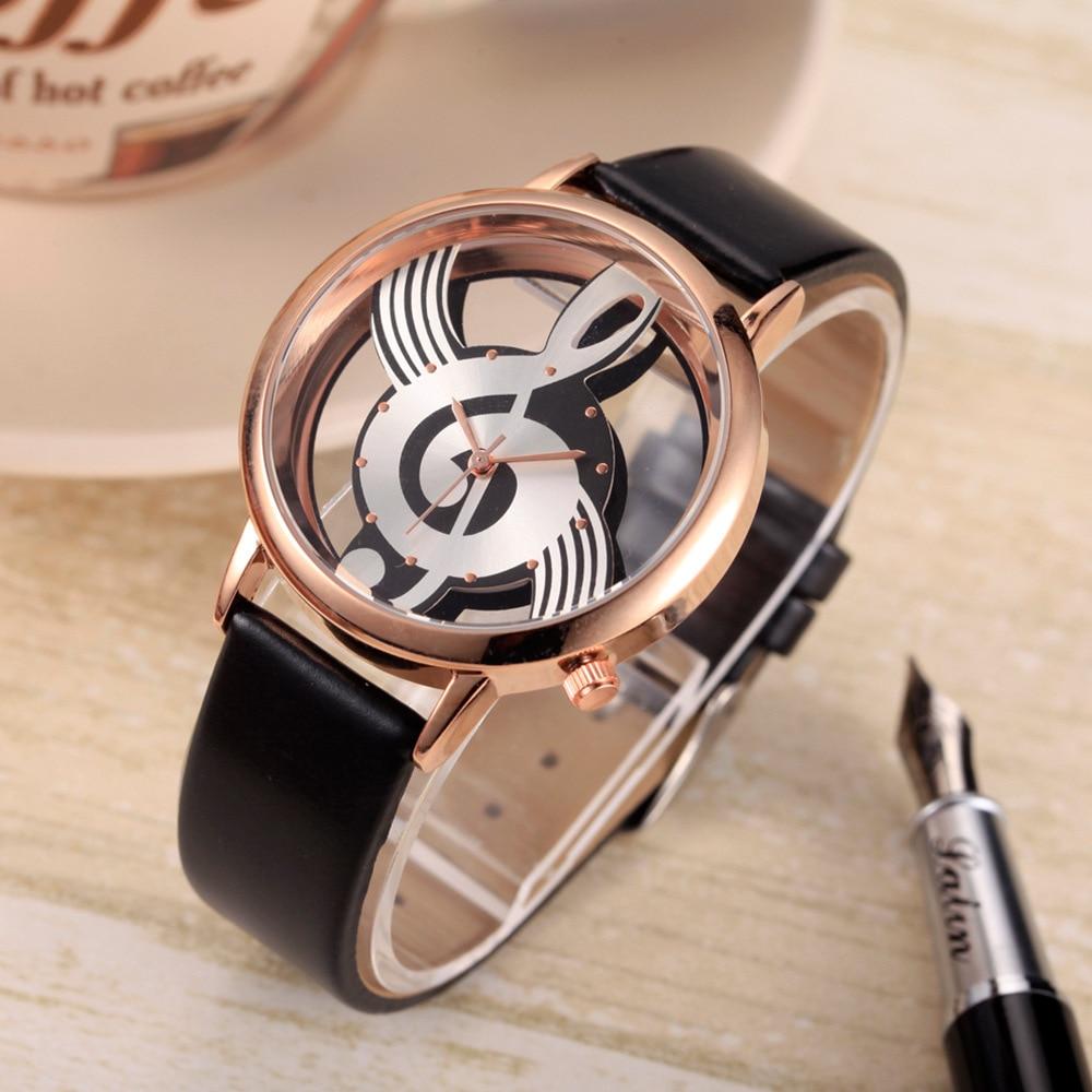 Antique Bracelet Watch For Women Jewelry 7pcs Set Hollow Music Note PU Leather Brand Luxury Quartz Watch Women Wristwatches Gold enlarge