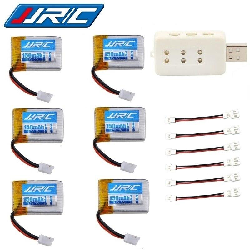 JJRC H36 (6 in 1) USB charger sets 3.7V 150mAh 30c For E010 E011 E012 E013 F36 H36 RC Quadcopter Parts 3.7v Lipo Battery