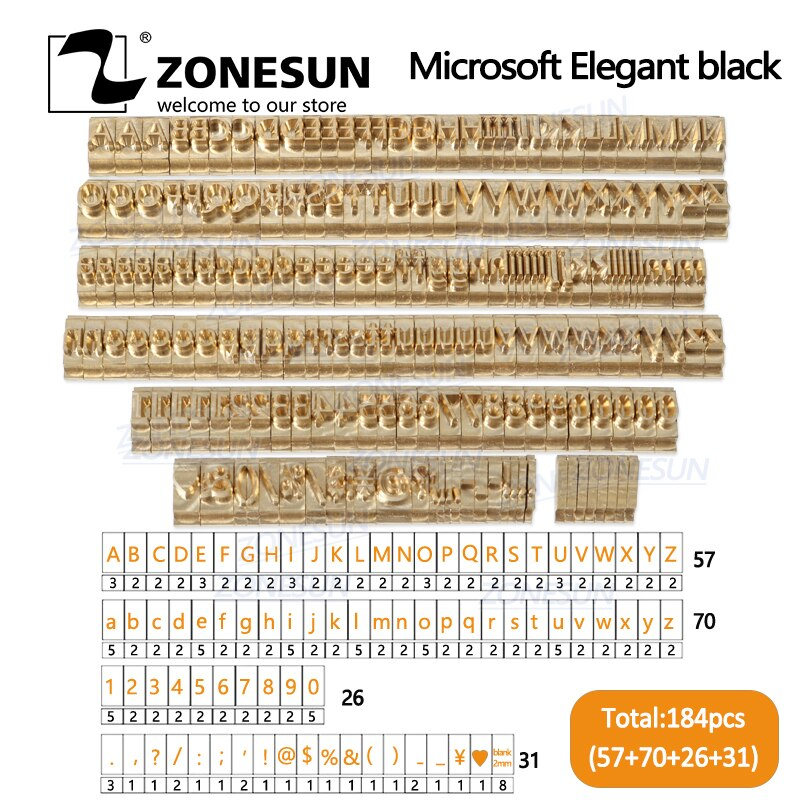 ZONESUN-مجموعة من الحروف الأبجدية ورموز رقمية وطابع T-slot 10 سنتيمتر لآلة ختم الرقائق الساخنة واسم الشعار المخصص ، 184 قطعة