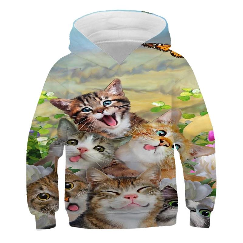 Sudadera con capucha de gato y café para niños sudadera cálida de...
