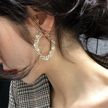 CWEEL Vintage Korean Big Hoop Earrings For Women Female Fashion WomenS Earrings 2020 Brinco Boho Gold Statement Earring