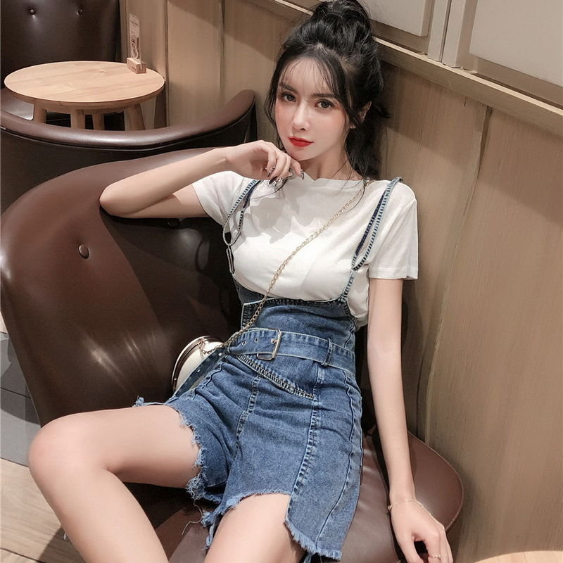Spring and Summer New Style Foreign Denim Overalls Women Korean Fashion Plus Size Loose Shorts