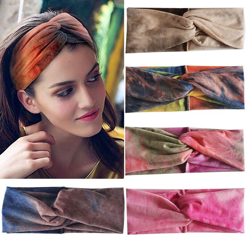 Kobiety Tie Dye wiązane Vintage opaski sportowe sportowe podróżna na ramię śliczne Turban Twist pałąk głowy okłady dziewczyna akcesoria do włosów