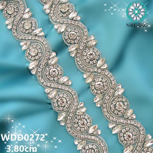(1 ярд) Серебряная прозрачная Свадебная аппликация из хрустальных страз с бисером отделка золото пришить железа на свадебное платье WDD0272