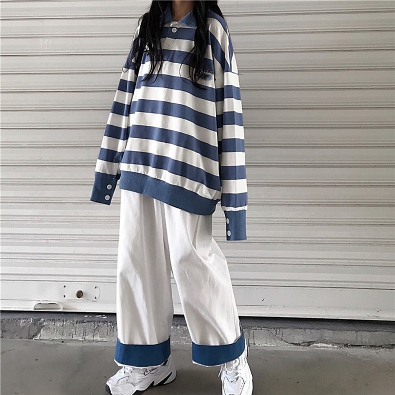 contrast striped pullover sweater Contrast Stripe Knitted Sweater Polo Autumn Winter Women's Pullover Blue Striped Oversized Sweater Hot Sale 2021 New
