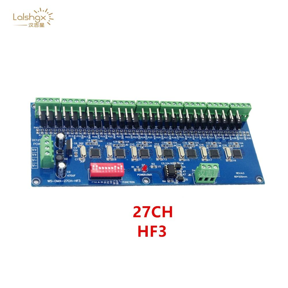 27Channel HF3 27CH 9 Group Max 3A DMX512 XPL 3P LED Decoder Controller Free Shipping for DC12V-24V RGB Led Module Strip Lights enlarge