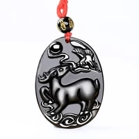 real obsidian fawn and magpie necklace pendant hand carved deer and magpie gems lucky amulet