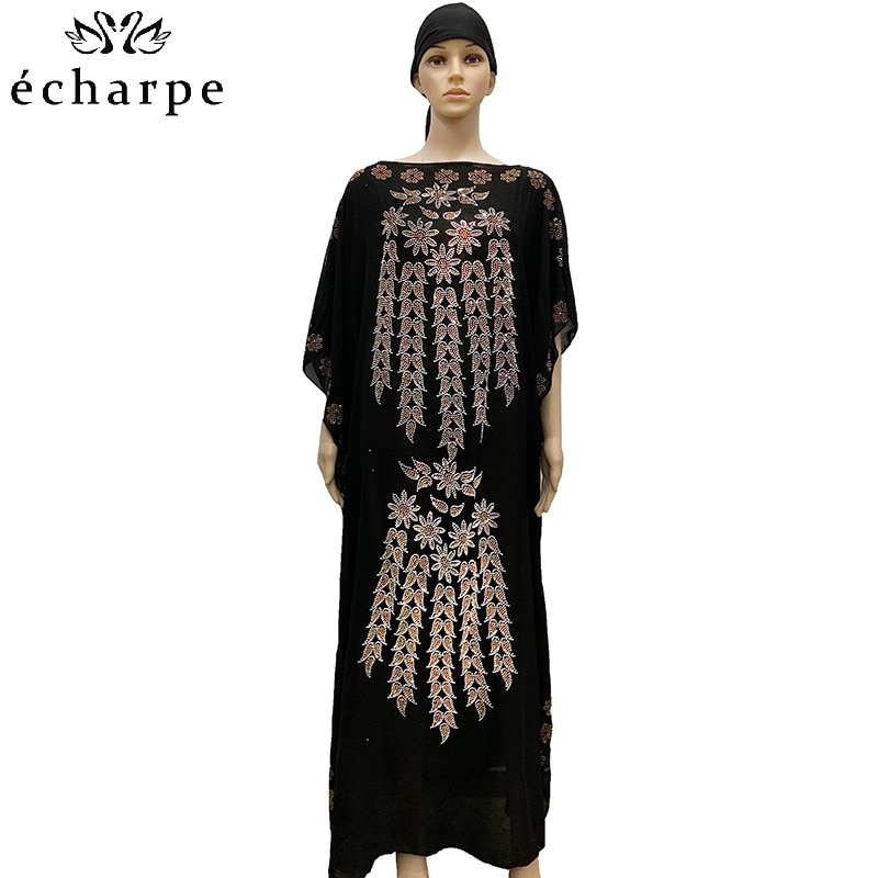 new african tranditional long loose dress vintage hippie dashiki caftan ethnic indian New African Oversize Chiffon African Loose Size Colorful Diamond Women Casual Dress Dashiki robe BD03