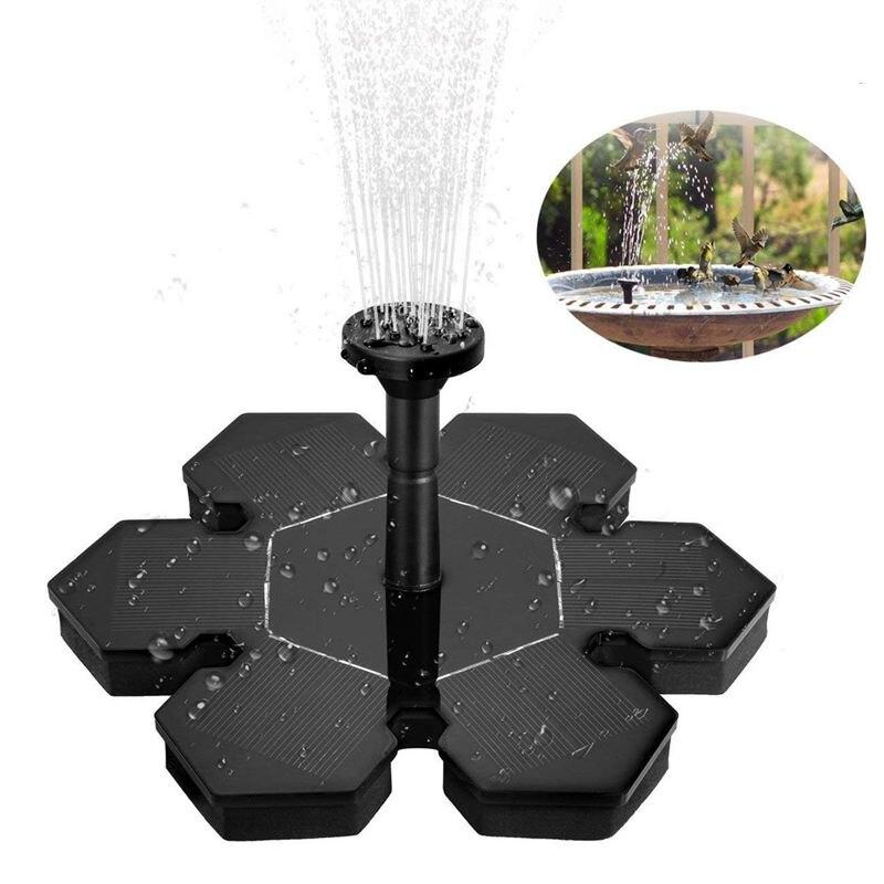 Fuente Solar batería de respaldo al aire libre forma de flor bomba de agua flotante 1,5 W para el baño de pájaros estanque pequeño pecera