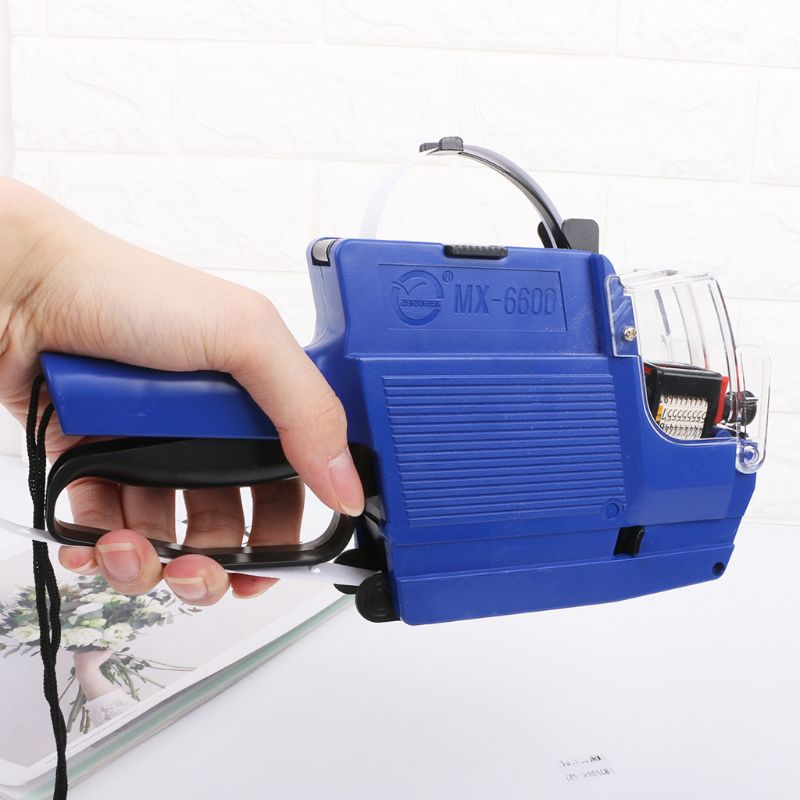 MX-6600 10 Digits Two-line Labeller Price Tag Gun Label 2 Lines For Retail Store Pricing Tag Display Tool + Ink Roller