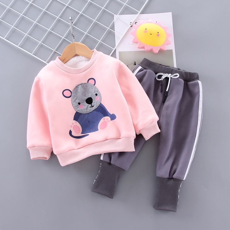 IENENS Toddler Girl Clothes Set Kids Winter Warm Parkas Clothing Suit Baby Cartoon Bear Sweatshirt + Pants Outfits 1-4 Years