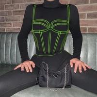 women rompers casual sportswear turtleneck long sleeve bodysuits striped print tracksuit top leggings club party two piece set