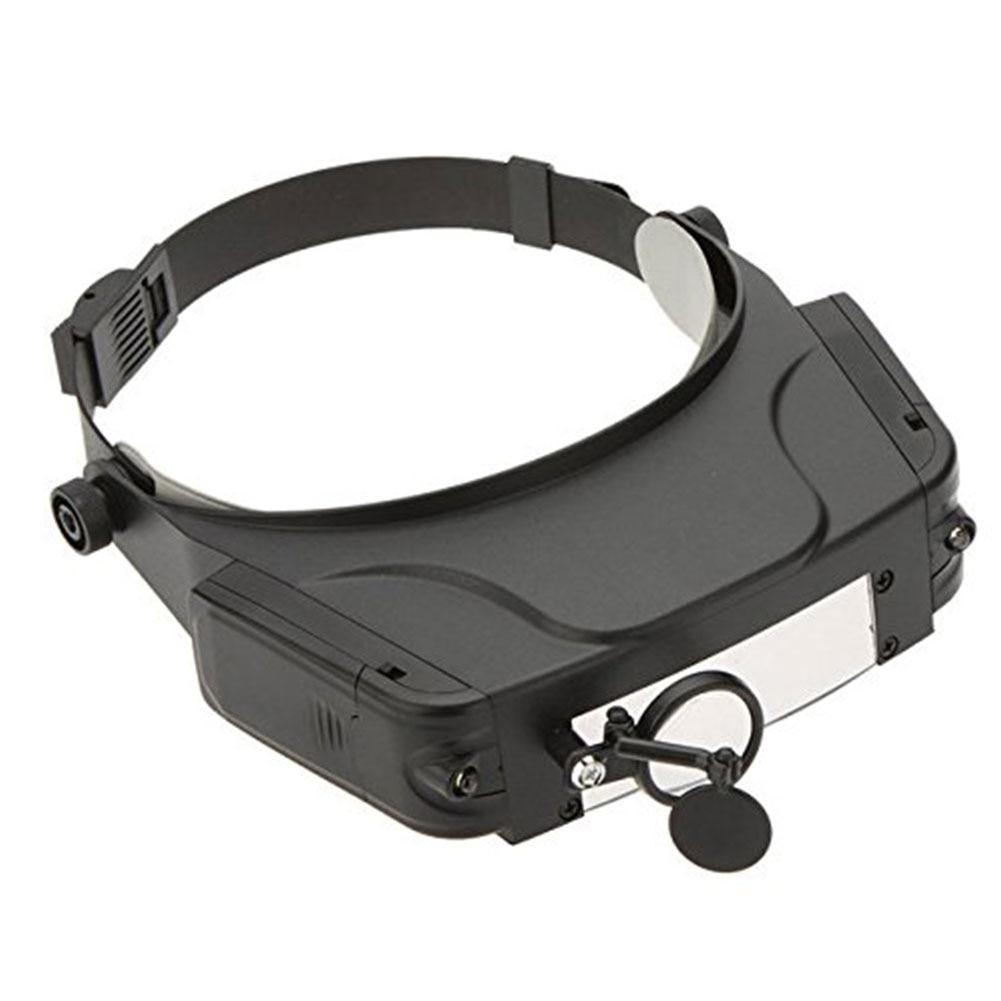 Lupa multifuncional de acrílico con cabeza montada luz LED aumento de ojos Multi-lente para leer lupa