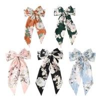 1pc vintage big large satin bow hair clip for women girls floral stripes long ribbon korean hairpins barrette hair accessories