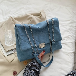 Women Bag Famouse Brand Blue Denim Color Women Shoulder Bags Metal Chain High Quality Canvas Crossbody Bag Lady Satchel Handbag