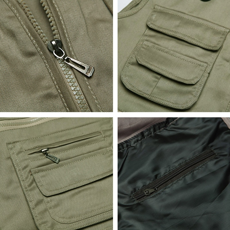 Men Cotton Multi Pocket Vest Summer New Male Casual Thin Sleeveless Jacket With Many Pockets Mens Photographer Baggy Waistcoat