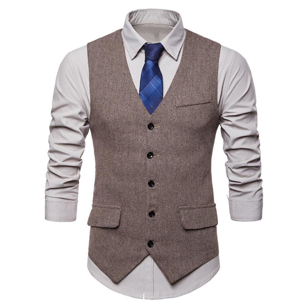 Men Sleeveless V Neck Single-breasted Herringbone Gilet Business Suit Waistcoat V Neck Herringbone Gilet Business Suit Waistcoat