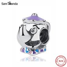 Original 100% 925 en argent Sterling perle breloque Potts et puce breloques théière émail dessin animé forme Pandora Bracelets bricolage femmes bijoux