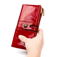 wallet for women vintage oil wax leather womens wallet korean fashion mobile phone coin purse clutch rfid long wallet carteira