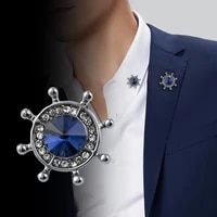 korean fashion crystal anchor rudder brooch mens suit shirt badge collar pins brooch jewelry luxury for women accessories gifts