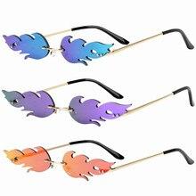 Rimless Wave Sunglasses  Fire Flame Sunglasses Streetwear Car Driving Glasses Trending Narrow Fashio