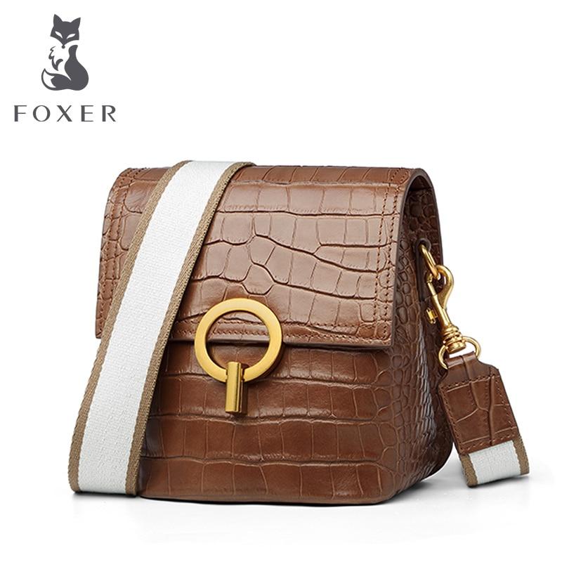 FOXER Cowhide Fashion Small Bucket Bag Female Large Capacity Woman Shoulder Bags & Handbags Stylish Flap Bag for Lady Retro