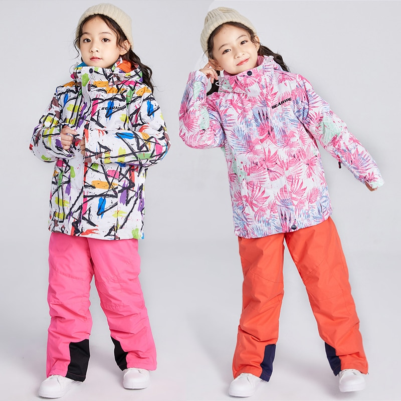 2021 Warm Baby Girl Ski Suits Winter Hooded Jackets Overalls Snow Sets for Children Waterproof Outdoor Kids Snowboard Clothes winter clothes for boys kids down suits 2018 baby girl jacket clothes sets overalls warm children outerwear jumpsuit snowsuit