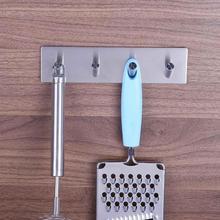 4 Hooks Sticker Adhesive Stainless Steel Hooks Wall Door Clothes Coat Hat Hanger Kitchen Bathroom Rustproof Towel Hooks