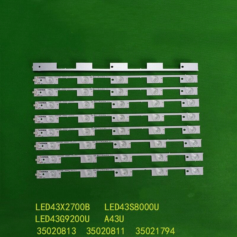 9 قطعة/المجموعة LED شريط إضاءة خلفي 5 مصابيح ل A43U LED43S8000U LED43G9200U مصباح بار LED43X2700B 35020813 35020811 35021794