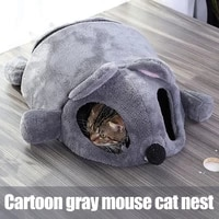 cartoon gray mouse cats bed winter thickening warm windproof pet nest cats house winter supplies hk3