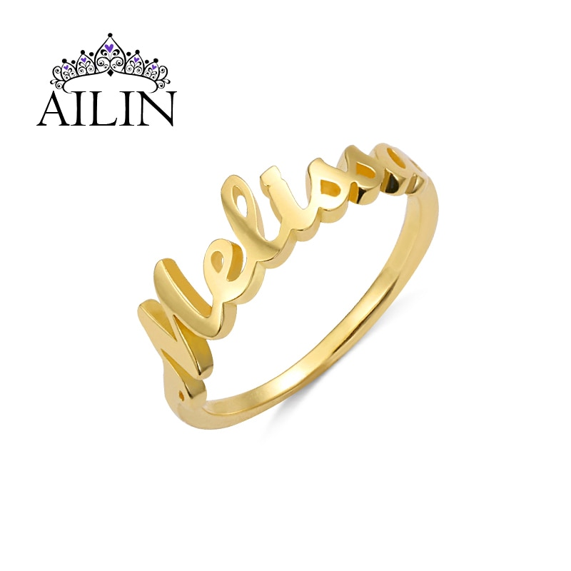 AILIN Custom Ring Stainless Steel 18K Gold Plated Promise Personalized Name Rings For Women Girlfriends Wedding Jewelry Gift custom name high quality stainless steel wholesale simple ring fashion gold rings jewelry for women s exclusive wedding ring