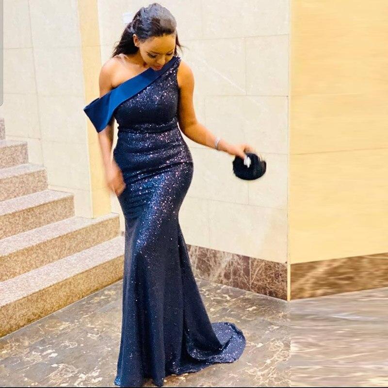 Dama de Honra Fora do Ombro Vestidos de Noivado Marinho Azul Lantejoulas Sereia Vestido Varrer Trem Simples Longo