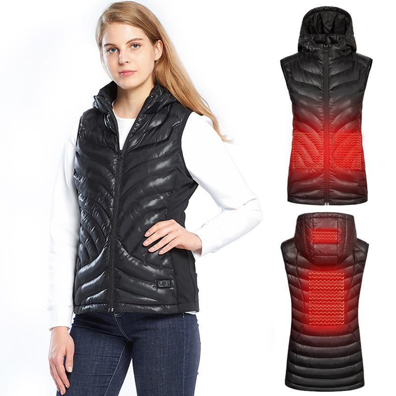 ZYNNEVA Outdoor Sport Elektrische Beheizte Weste Frauen Carbon Faser USB Selbst Heizung Mantel Weibliche Thermische Wandern Reise Jacke GC1232
