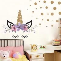 Autocollant mural en forme de cercle  licorne  coeur  fleur  doux  decoration pour la maison  chambre a coucher  pour les chambres denfants