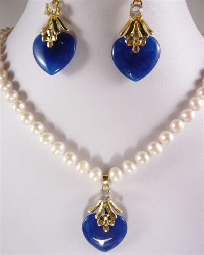 """Очарование размером 7-8 мм, белые пресноводные жемчужины ожерелье 17 """"и отделки из белого нефрита на распродаже сердце нефрит серьги подвеска"""