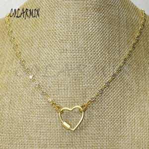 3 strands Heart Bolt Lock necklace Zircon Crystal necklace bolt  heart carabiner fashion accessories for women 50441