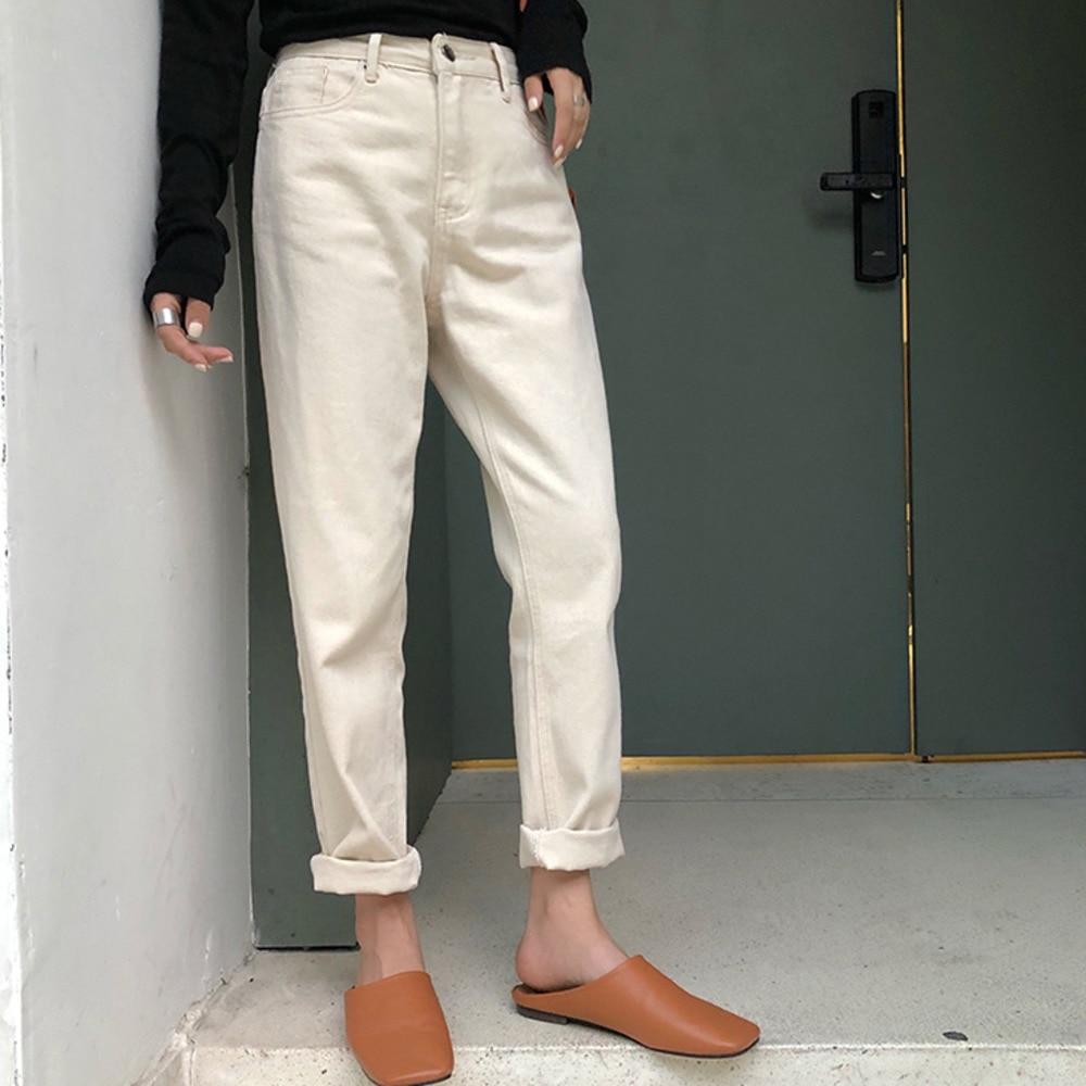 2020 Spring Meters White Jeans Woman Loose Nine Ankle Denim Pants High Waist Dad Jeans