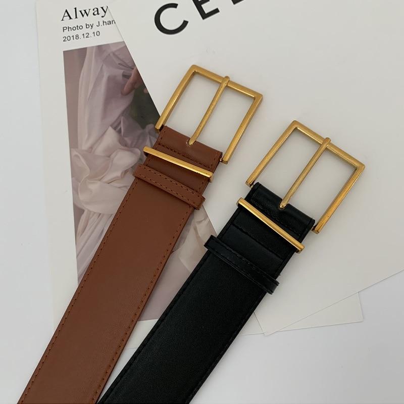 Fashion Women Belts Luxury Brand Gold Buckle Wide High Quality Genuine Leather Waist Strap Corset  Black Ladies Female Waistband