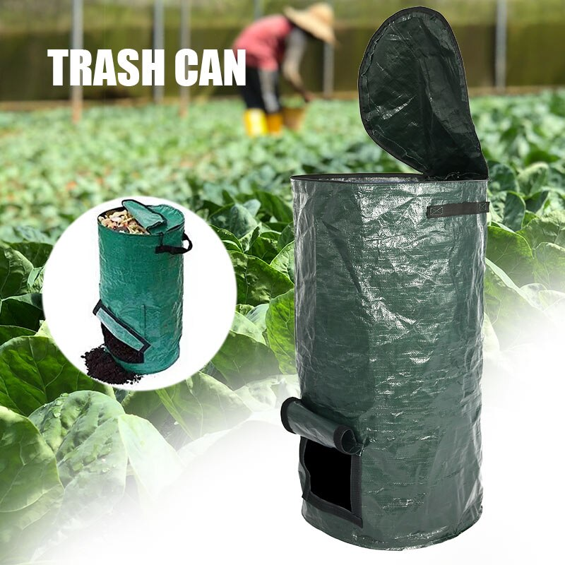 Nuevo cubo de basura de hojas de jardín reutilizable, Cubo de Compost de patio para fruta, cocina, cubo de basura de cultivo de residuos-30