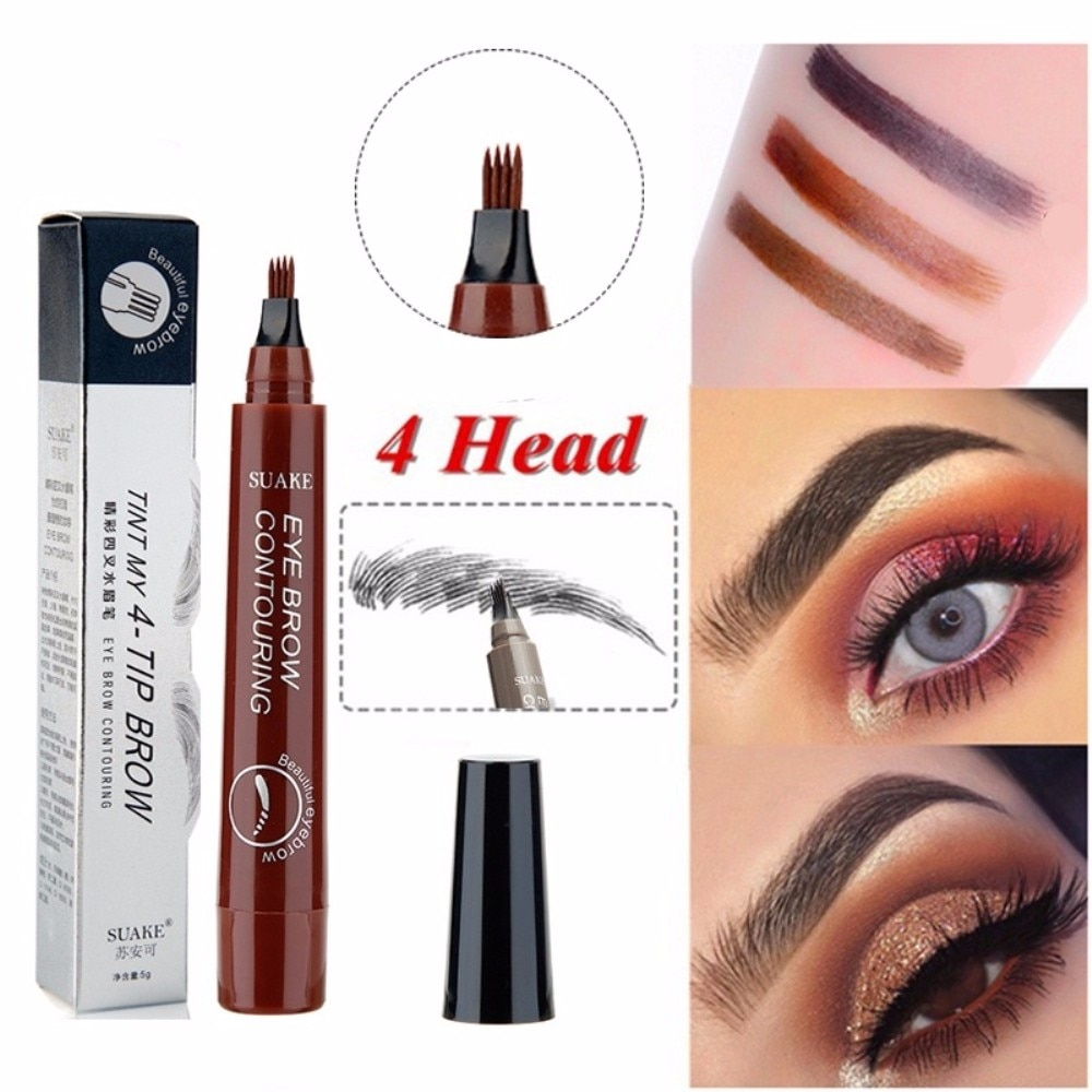 Makeup Microblading Four Fork Tip Eyebrow Pencil Waterproof Eye Brow Tattoo Pen  Fine Sketch Enhancer Makeup Cosmetic TSLM2