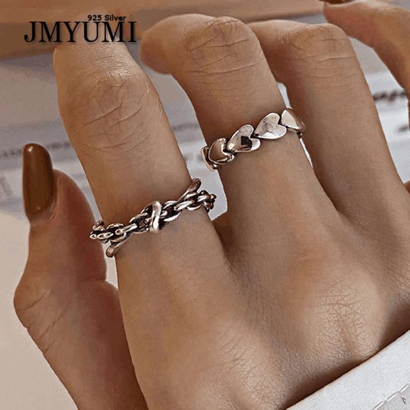 JMYUMI 925 пробы серебряные кольца с любовным сердцем для женщин новые тенденции искусственный геометрический крест тайские серебряные ювелир...
