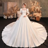 2021 new winter high end satin bridal wedding dress court train temperament simple atmosphere long sleeves covering thick arms