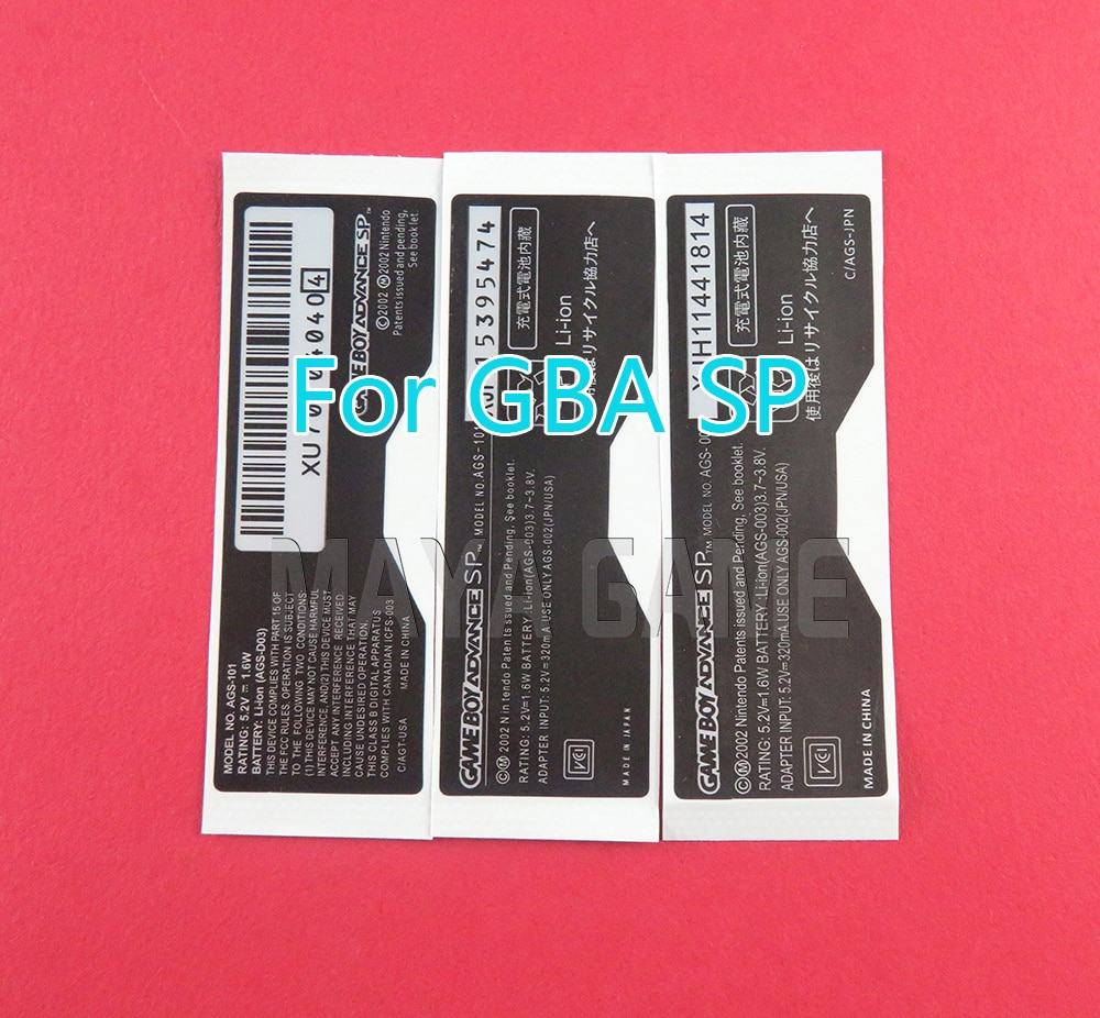 5 pçs para gameboy gba sp console etiqueta traseira para nintendo game boy sp etiqueta AGS-101